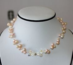 Pink White Peach Freshwater Pearl and Swarovski by MarlaBeeDesigns, $85.00