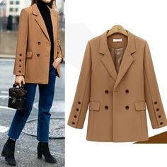 Fashion stand up collar long sleeve leopard print suit outerwear coat - Cicicloth Long Blazer Jacket, Casual Blazer, Blazer Outfits, Blazer Fashion, Blazer Suit, Blazer Dress, Sleevless Blazer, Dress Outfits, Casual Outfits
