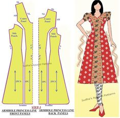 Sudha s apparel patterns how to make kameez with armhole princess line Princess Line Dress, Princess Dress Patterns, Dress Sewing Patterns, Clothing Patterns, Sewing Paterns, Princess Cut, Kurta Patterns, Blouse Patterns, Kurta Designs
