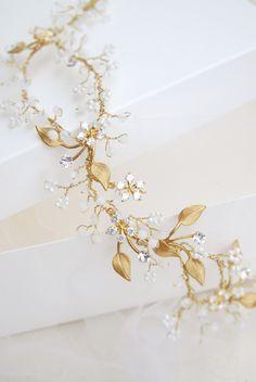 Bridal hair vine wedding crystal headband beaded head от Elibre