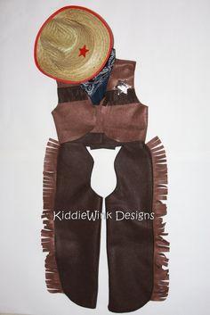 Complete cowboy costume - chaps, vest, bandana, sheriff's badge & cowboy hat. $45.00, via Etsy.