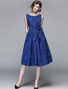 1950s Inspired Floral Print Midi Blue Modest Retro Dress