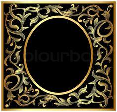 Abbildung Gemüse gewundenen gold (en) pattern frame | Stock-Vektor | Colourbox on Colourbox
