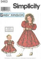 Simplicity 9463 Daisy Kingdom Girls and Doll Dress Pattern 3 - 6