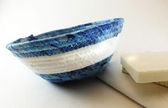 Boho Coiled Basket, Blue White Basket, Hand Dyed Fabric, Medium Coil Basket, Soap Basket, Blue Gift Basket, Coiled Rope Basket, Laura Loxley