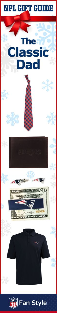 The classic, fashion-forward dad can never have enough ties—especially to show off his New England Patriots fandom. Gift dad the ultimate package of team spirit, and don't forget the money clip!