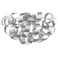 Dar RAW0550 Rawley 5 Light Flush Brushed Aluminium