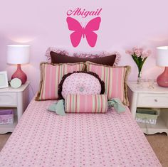 PERSONALIZED BUTTERFLY with NAME vinyl wall decal by kisvinyl, $17.99 vinyl wall art sticker decal, personalized girls decal