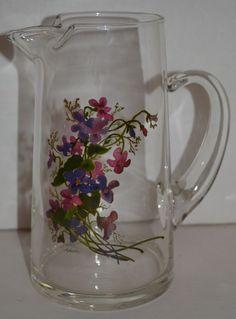 Vintage Avon Glass Pitcher Wild Violets Collection Purple Green Original Box  #AvonWildVioletsCollection