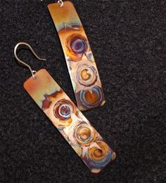 copper earrings multicolored rectangular copper  jewelry by Dawily, $24.00