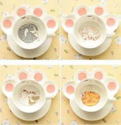 Tasse mit Untertasse - Katze Pfote - Kaffee Tee - Japan Cute Kawaii