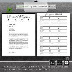 Resume Template & Cover Letter Template Professional by LANDEDpro Teacher Resume Template, Modern Resume Template, Cv Template, Creative Resume Templates, Cv Design, Resume Design, Letter I Words, Creative Cv, Cover Letter Template