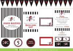 Pirate Party Printables Can Design, Pirate Party, I Party, Business Branding, Party Printables, Wedding Stationery, Thankful, Holiday Decor, Birthday