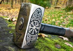Viking hammer with Vegvisir Symbol carpentry woodwork | Etsy Blacksmith Hammer, Hammer Tool, Vikings, Viking Armor, Viking Life, Pop Art, Special Symbols, Vegvisir, Weapon Concept Art