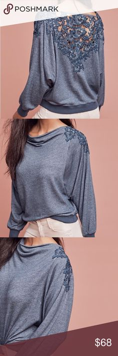 Meadow Rue Bria Lace Back Sweatshirt, Sz M Super cute! Heathered blue color. Slightly cropped fit sits high in waist. Interesting drapey fit. Super sexy open lace work back. By Meadow Rue. Brand new with tags. Anthropologie Tops