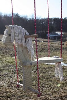 Childs Wooden Horse Swing by jocelsplayground on Etsy