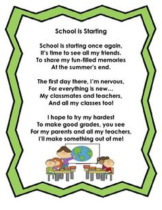 back to school poem | Poems, So cute and Search