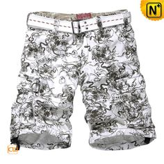 Designer Cotton Cargo Shorts for Men CW144001  Fashion looking designer cargo shorts for men made of 1000% pure cotton fabric, our loose fit belted men's cargo shorts perfect for any occasion!