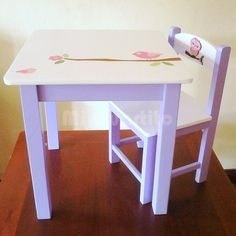 Juego mesa y silla infantil By Mi Cuartito deco Kids Table And Chairs, Kid Table, Kids Furniture, Painted Furniture, Wood Projects, Projects To Try, Girl Room, Ideas Para, Crafts For Kids