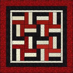 AZPatch - July 2007 Quilt - Rail Fence Block (illustration shows possible layout with 16 blocks plus border... Love it!)