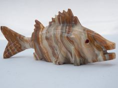 Hand Carved Solid Onyx Stone Fish  Stone by 1littletreasureshop, $17.25