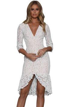 5816f761da4 Her Fashion Button Down Detail White 3 4 sleeve soft Lace Midi Dress   womensfashion