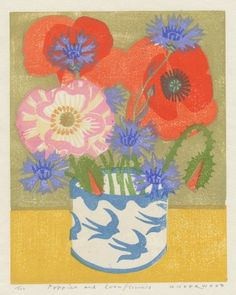 """Poppies and Cornflowers"" by Matt Underwood (woodblock print)"
