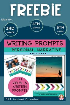 Come and download free narrative writing prompts for 3rd grade, 4th grade and 5th grade students. You can also gather a few tips and time saving resources for upper elementary. #sarahannescreativeclassroom #upperelementary #narrativewritingprompts #writingprompts #3rdgradewritingprompts #4thgradewritingprompts #5thgradewritingprompts #free #freebies #tpt
