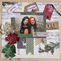 Tutorial para hacer un Layout Navideño con papeles de la colección Christmas Collage de Bo Bunny y sellos navideños en español My Crafty Birds