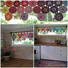 Crochet curtain of Japanese Flowers by BautaWitch Pattern in Swedish… Crochet Curtain Pattern, Crochet Curtains, Curtain Patterns, Diy Curtains, Valance, Crochet Puff Flower, Crochet Flower Patterns, Crochet Flowers, Crochet Home Decor