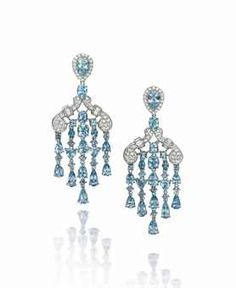 A PAIR OF AQUAMARINE AND DIAMOND EAR PENDANTS, BY MICHAEL YOUSSOUFIAN  Of chandelier design, each composed of an inverted pear shaped aquamarine and diamond cluster top suspending a pavé-set diamond scroll design panel to five vari-cut aquamarine tassel drop.