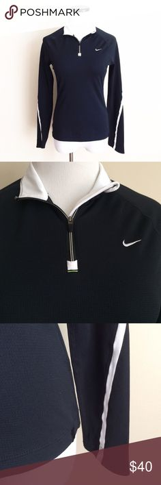 "NIKE Fit Dry Black pullover zip Gently worn. Black with white trim. 3/4 zip pullover shirt. Size small (4-6) Fitted style. Length 22.5"". Chest 17"". I removed the care tag. Nike Tops"