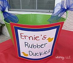 Sesame Street Birthday Game. -- totally over the top but some cute ideas.