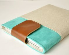 13 MacBook Cover Macbook Pro Sleeve  Laptop by LittlePigeonCrafts Accent Color: Sky