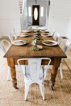 White farmhouse Metal Chairs Dining Room Decor by Liz Marie Blog - Farmhouse…