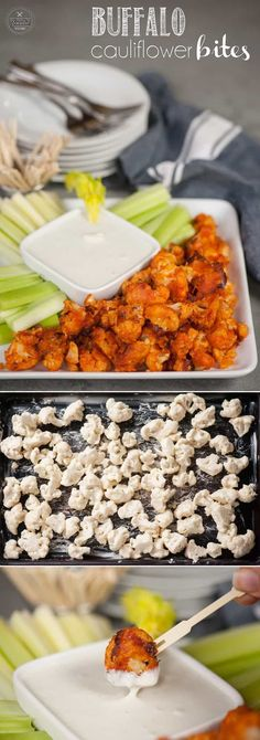These Buffalo Cauliflower Bites taste so much like traditional chicken wings, but are a healthy vegetarian version perfect for a light snack. #cauliflower #buffalocauliflower #lowcarb