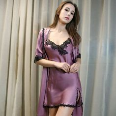 Details about Women Lingerie Sleepwear Robe Set Ladies Long Sexy Lace Nightgown Pijamas Mujer - Sexy Lingerie, Beautiful Lingerie, Lingerie Sleepwear, Nightwear, Lingerie Underwear, Lingerie Dress, Lace Nightgown, Satin Nightie, Satin Dresses