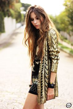 Fashioncoolture - Look Du Jour Golden Romwe Cardigan Studded Estilo Fashion, Love Fashion, Ideias Fashion, Fashion Beauty, Winter Fashion, Womens Fashion, Fashion Trends, Looks Style, Style Me