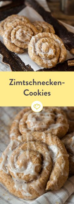 Süße Zimtschnecken-Cookies mit Zuckerglasur If you smell the smell of cinnamon around your nose, you know that only good can expect you. With these cinnamon buns cookies you sweetens every gray day. Cookie Desserts, Great Desserts, Cookie Recipes, Cookie Icing, Cupcake Cookies, Cookies Decorados, Super Cookies, Cinnamon Roll Cookies, Food Porn