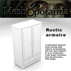 This kit consists of 4 individual meshes with strong LOD, logical unwrapping and LI 2 6 AO maps are included Meshopotamia's meshes are caref. Filing Cabinet, Armoire, How To Apply, Display, Rustic, Storage, Bedroom, Home Decor, Clothes Stand