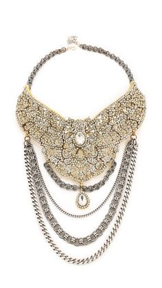 Laura Cantu Rhinestone Studded Flower Bib Necklace