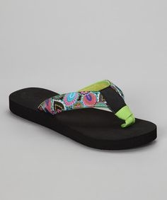 Take a look at this Black & Lime Green Paisley Bop 93 Flip-Flop by beeBops on #zulily today!