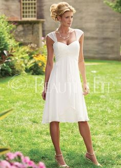 Soft 						Sweetheart					 						Chiffon					 						Sheath/Column					 						Knee-length					 Wedding Dress