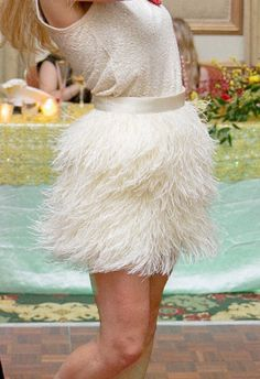 On HOLD for EuropeanMedals - Custom Order Full High Waisted Ostrich Feather Skirt in Blue