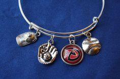 Arizona Diamondback Baseball Expandable Wire Bangle Bracelet #Handmade
