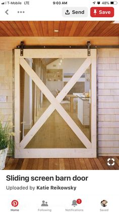 Sliding barn screen door for decks. Never thought of doing a screen door! Would be excellent for sliding glass doors, instead of that hard to slide cheap screen door! Diy Screen Door, Rolling Screen Door, Room Screen, Diy Door, Casa Patio, The Doors, Entry Doors, Screens For French Doors, Entrance