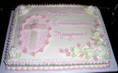 First Communion  cake ..11 x 15 chocolate sheet with vanilla butter cream.