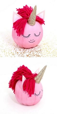DIY Unicorn PumpkinInstead of polymer clay for the horn, you could use sparkly glitter cardstock or air dry clay. Over-the-top Glitter Unicorn Pumpkin GIF by me using Lines Across' image and Lunapic free editing software. For more of my favorite. Pumpkin Art, Cute Pumpkin, Pumpkin Crafts, Fall Crafts, Holiday Crafts, Holiday Fun, Pumpkin Ideas, Pumpkin Painting, Pumpkin Carving