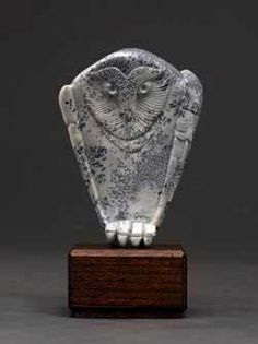 Soapstone Owl, a dendritic soapstone carving by Clarence P