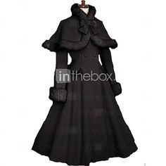Coat Gothic Lolita/Classic Lolita Princess Cosplay Lolita Dress Black Solid Long Sleeve Lolita Coat For Women Velvet Lolita Coat With Bow 2017 - $79.99